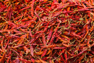 Dry chili pepper in market in Nepal