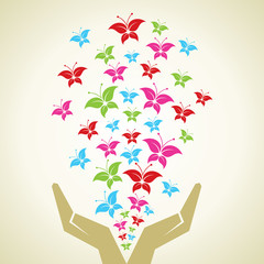 Hand emitted Colorful butterflies background stock vector