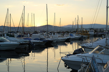 Marina with yachts in the evening, French Riviera