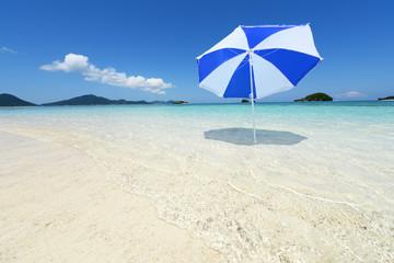 透明な波とビーチパラソル