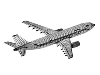 Drawing outline passenger airliner