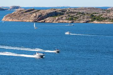 Motor boats at sea