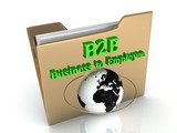 B2E Business to Employee bright green letters on a golden folder poster