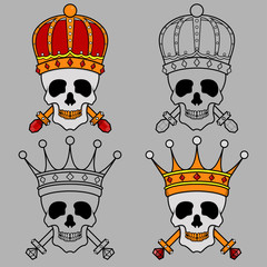 King crown skull mascot