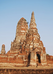 Pagoda image in Wat Chaiwatthanaram at Sukhothai , Thailand