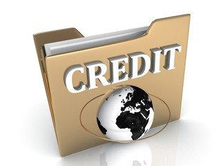 CREDIT bright white letters on a golden folder