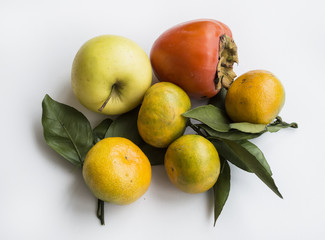Apple, persimmon, tangerines