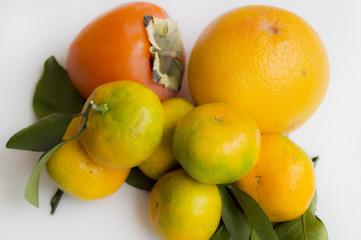 Tangerines, persimmon, orange