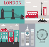 Fototapety Symbols of London.Vector