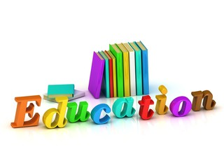 education 3d inscription bright volume letter and textbooks