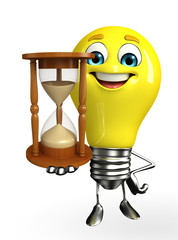Light Bulb Character with sand clock