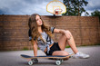 Skateboard teenage girl