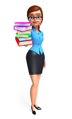 Young office girl with book pile