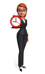 Young Business Woman with table clock