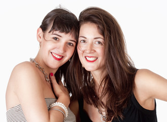Portrait of Two Sisters Smiling