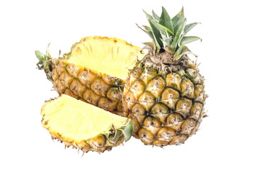 pineapple with slices isolated on white : Clipping path