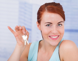 Beautiful Woman Holding New House Keys