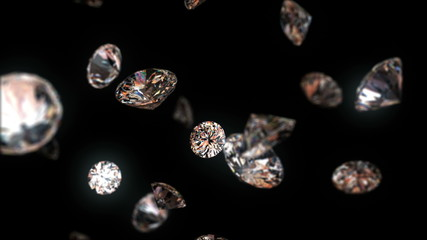 4k falling diamonds, beautiful background. seamless loop
