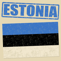 Estonia grunge flag and stamp