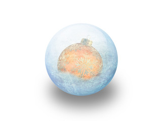 Boule de noël orange givrée