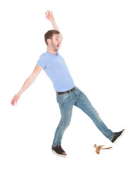 Man Slipping Over White Background