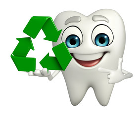 Teeth character with recycle icon