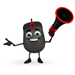 Computer Mouse Character with Loudspeaker