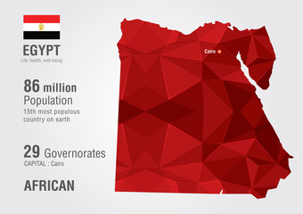 Egypt world map woth a pixel diamond texture.