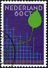 stamp printed in the Netherlands shows Graph and Leaf
