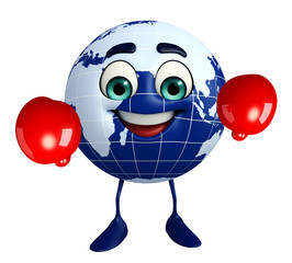 Earth Character with Boxing Gloves