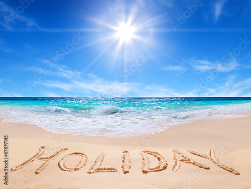 "canvas print picture word ""holiday"" on the tropical beach"