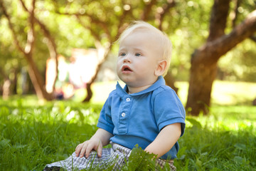 funny little boy sitting on the grass in the park