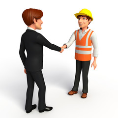 Young Business Man and worker with shake hand