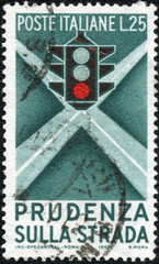 stamp printed in the Italy shows Traffic Light