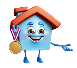 House character with gold medal