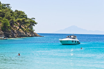 Turquoise sea color near Aliki beach, island of Thassos