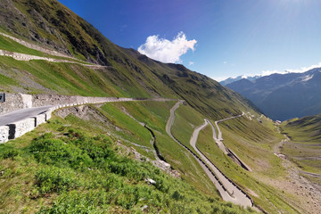 serpentine mountain road in Alps, Stelvio pass,