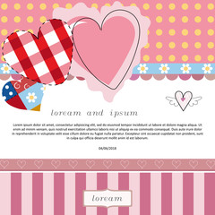 valentines day cards with ornaments and hearts