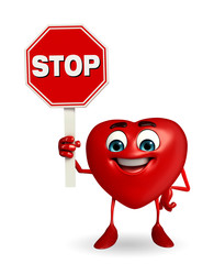 Heart Shape character with stop sign
