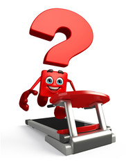 Question Mark character with walking machine