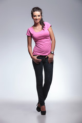 full body picture of a young casual woman