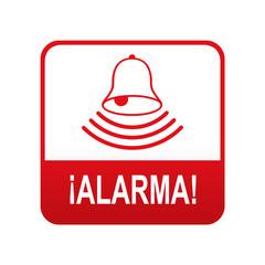 Etiqueta tipo app roja ALARMA