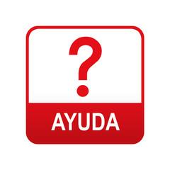 Etiqueta tipo app roja AYUDA