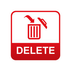 Etiqueta tipo app roja DELETE