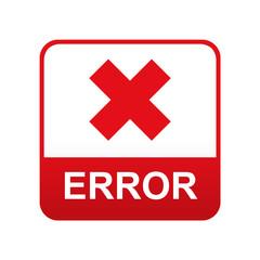 Etiqueta tipo app roja ERROR