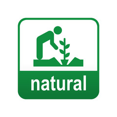 Etiqueta tipo app verde NATURAL