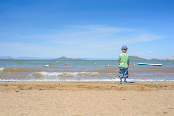 Little boy standing on the beach