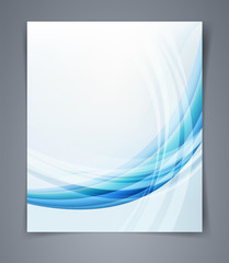 Vector layout business flyer, blue design with waves.