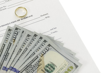 Divorce Form With Hundred Dollars Bills Spread Out On Top