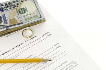 Divorce Form With Hundred Dollars Bills And A Pencil